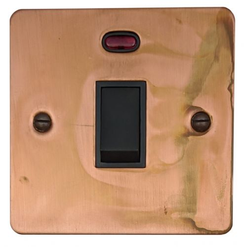 G&H FTC26B Flat Plate Tarnished Copper 1 Gang 20 Amp Double Pole Switch & Neon